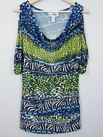 [ JOSEPH RIBKOFF ] Womens Cold Shoulder Print Top | Size AU 14 or US 12