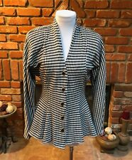 Vintage JUDY'S 80s Black White Flared PEPLUM WAIST Peplum Retro Blazer Jacket