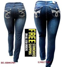 WOMENS PLUS SIZE DARK BLUE HIGH WAIST Stretch denim jeans SKINNY LEG pants-NEW