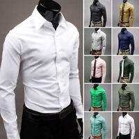 Men's Dress Shirt Casual Slim Fit T-Shirt Long Sleeve Formal Tops Solid M-3XL