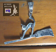 Cat on a Broomstick Aussie Pewter Pendant w/Celtic Bail. Witch Goth, Cat Lover