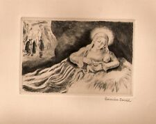 """Hermine DAVID: gravure 1940 """"Nativité/ La Vierge et l'Enfant""""/"""