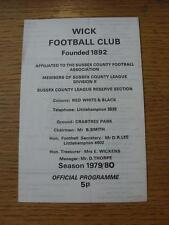 20/10/1979 Wick v Newhaven  (Four Pages)