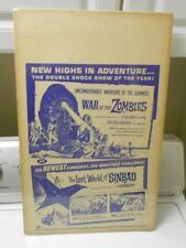 1965 The Lost World of Sinbad & War of the Zombies LOBBY CARD 14x22