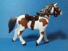 PLAYMOBIL Western Cheval maron et blanc selle cow boy marron-noir 3è génération