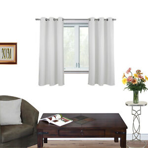 BLACKOUT Pure Fabric Thermal Insulated Eyelet Curtains 2x107cm(W)x132cm(L)