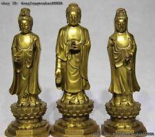 Tibetan Buddhism Temple Brass Copper Three Saints of the West Buddha Set statue