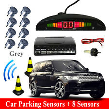Front and Rear 8 Sensors Car Reverse Parking Kit LED Buzzer Alarm+Switch Grey UK