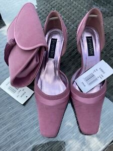 Jacques Vert Womens Shoes Uk 5 And Matching Clutch Bag In Dusky Pink. Worn Once