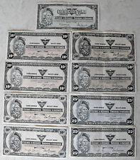 Lot of 9 Canadian tire banknotes Limited Cash Bonus 1x5c , 4x10c , 2x25c , 2x50c