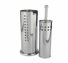 Stainless Steel Free Standing Toilet Brush & Roll Holder Loo Bathroom Cleaning