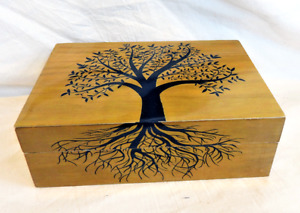 Lacquered Tree of Life Design Wooden Box with Lid - BNIB