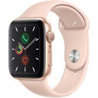 Apple Watch Series 5 44mm Gold Aluminum Case Pink Sand Sport Band, GPS MWVE2LL/A