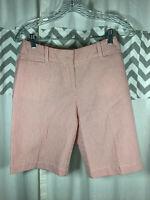 Talbots Red & White Stripe Size 2P 2 Petite Seersucker Shorts Bermuda 100% Cotto