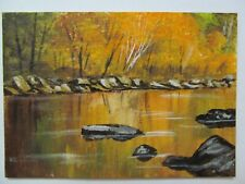 ACEO Original Acrylic Painting Landscape Beside the Still Waters by Joan Hutson