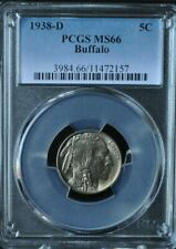 1938-D - 5 Cent Buffalo Nickel PCGS MS66 - 3984