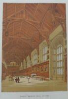 Antique lithograph print - Christ church hall - Oxford - Leighton Bros