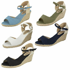 Ladies Spot on Canvas Wedge Sandals The Style - F2247 4 UK White Standard