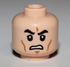 Lego Star Wars Light Flesh Minifig Head Black Eyebrows Cheek Lines Chin Dimple