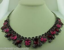 Sorrelli Pink Ruby Necklace NDB26ASPR antique silver tone
