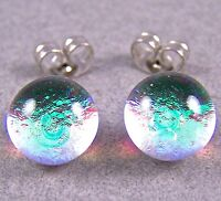 "DICHROIC GLASS Post EARRINGS 1/4"" 7mm Tiny Clear Lime Teal Green Surgical STUDS"
