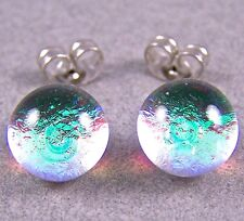 "DICHROIC Post EARRINGS 1/4"" 7mm Tiny Clear Lime Teal Green Fused GLASS STUDS"