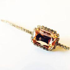 USA SELLER Bobby Pin Rhinestone Crystal Hairclip Hairpin Bridal Long Peach K01
