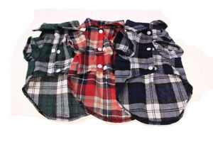 Cute Small Pet Dog Puppy Plaid T Shirt Lapel Coat Cat Jacket Clothes Costume