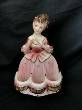 Vintage Japan Ceramic Pink Lady Southern Bell LIPSTICK HOLDER Vanity Collectible