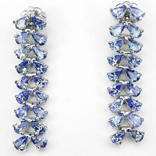 Sterling Silver 925 Genuine Natural Tanzanite Two Row Linear Dangle Earrings