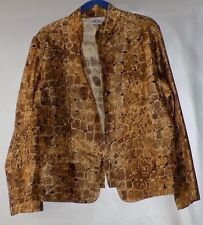 Chico's Stunning Gold Animal Print Silk Unlined Jacket-Misses Chico's Size 3 / L
