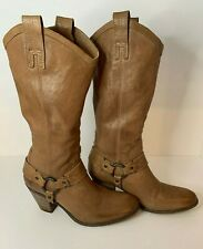 Frye Women's 9.5 Boots Taylor Harness Boot in Brown Pebbled Soft Leather Western