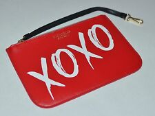 NEW VICTORIA'S SECRET XOXO RED POUCH BEAUTY BAG ORGANIZER CLUTCH WITH CLIP FLAT