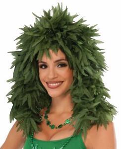 Marijuana Leaf Wig Cannabis Hippie Fancy Dress Up Halloween Costume Accessory