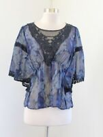 Free People Blue Sheer Lace Mesh Cinched Poncho Style Top Blouse Size XS Boho