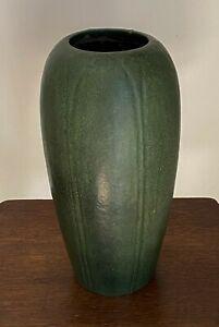 "12"" Large Carved Green Grueby Art Pottery Vase, Willamina Post"