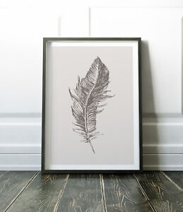 Grey Print, Feather Print, Feather Wall Art, Wall Art Print, Minimalist Print
