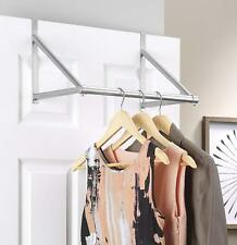 Over the Door Rod for Hanging Clothes Drying Sturdy Movable Rack Holder Hook Bar