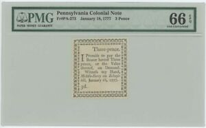 1777 Pennsylvania Colonial Note PA-273-277 Joseph Ogden PMG Gem 66 EPQ 5pc Set