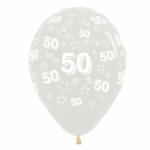 50th Birthday or Anniversary Balloons White/Clear - choose your amount