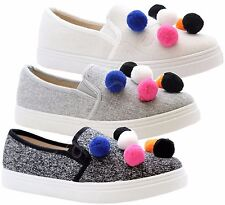 New Ladies Womens Flat Plimsolls Skater PomPom Pumps Trainers Sneaker Shoes Size