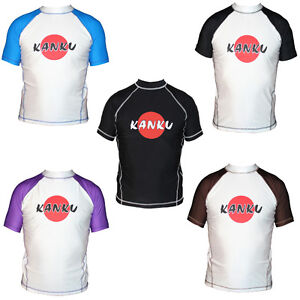 KANKU Short Sleeve Rash guard White, Blue, Black, Brown, BJJ, MMA, Judo, Fitness