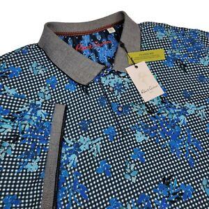 Robert Graham Mens 3XL Dirk Floral Short Sleeve Polo Shirt Gingham Knit Blue
