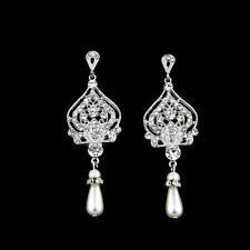 Art Deco Crystal Bridal Chandelier Earrings Pearl Teardrop Wedding Earring Retro