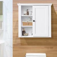 """21"""" Wood Wall Mount Bathroom Linen Storage Cabinet w/ Door And Shelves"""