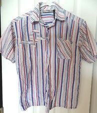 boys size medium 10-12 ROCAWEAR SHIRT TOP stripes COTTON short sleeve RED BLUE