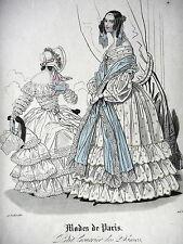 GRAVURE ANCIENNE MODE 19e - MODES DE PARIS 15 JUILLET 1840