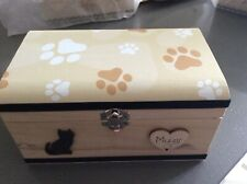 Ashes Pet Urn Cat Memorial Keepsake Wooden Box Handcrafted Personalised Gift