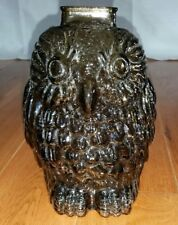 Vintage owl coin piggy bank collectible bird decor sculpture statue smoke glass