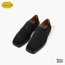 Firenze Atelier Men's BLACK Suede Square Toe Oxford Derby Shoes /W Vibram Sole